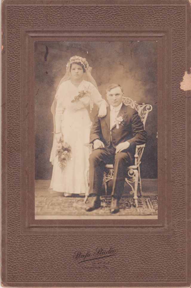 Wedding photo of Sophia Satkiewicz and Jan Rozenek ~ taken by Stafa Studio, Carnegie, PA circa 1914.