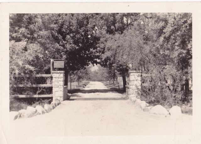 """Our entrance on Fort Lowell Road - Sept. 1938"". Mrs. Hyde's daughter, Carolyn, lived at the Rincon Stock Farm, in Tucson, while married to Melville Hanna Haskell."