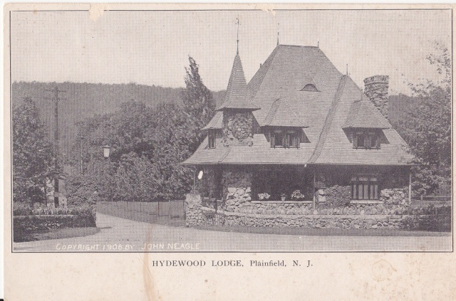 The entrance lodge to the Hyde family estate. Postcard copyright 1906 by John Neagle. Postcard collection of Mary Mirota.