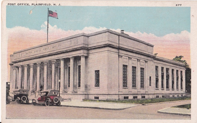 Post Office, Plainfield, NJ. Published by A. M. Line, Plainfield, NJ.Postcard collection of Mary Mirota.