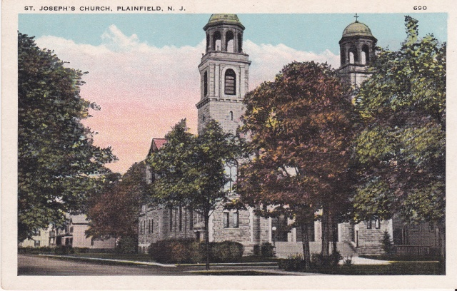 St. Joseph's Church, Plainfield, NJ. Published by A. M. Line, Plainfield, NJ.Postcard Collection of Mary Mirota.