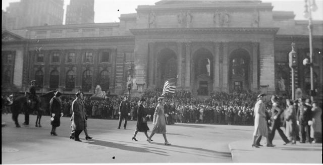 Parade on Fifth Avenue near the New York Public Library, circa 193839. Copyright Genealogy Sisters.
