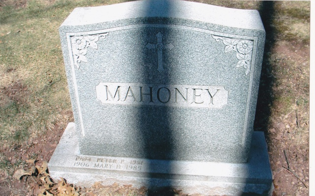 Mahoney grave marker at Holy Cross Cemetery.