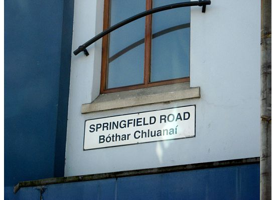 Springfield Road sign in West Belfast, Northern Ireland. Photograph taken by Maryann Barnes