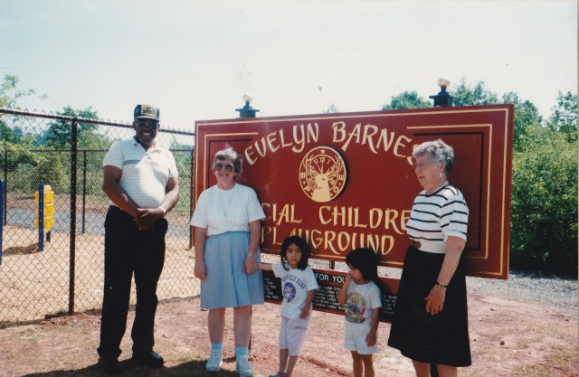 With Evelyn Barnes, at the dedication of the playground, her longtime Physical Therapist, Nancy Meyers.