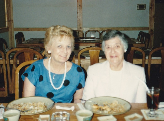 Evelyn Barnes with her secretary, Flo.