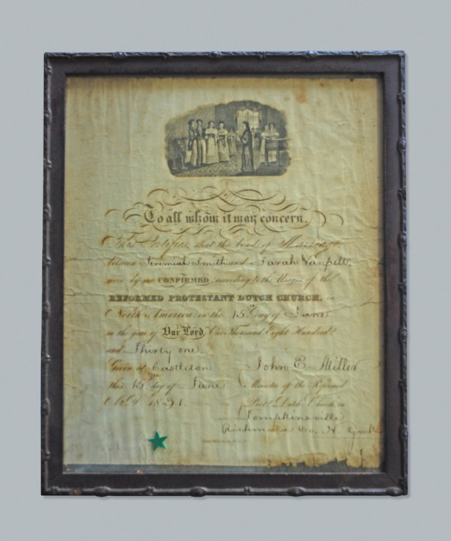Sarah Van Pelt & Jeremiah Smith Marriage Certificate. 2013 Copyright: GenealogySisters.com