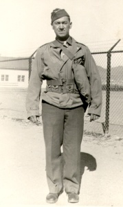 Joseph MIrota. Fort Bliss, TX. Ready to start on Rio Grande Field problem. 1942.
