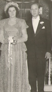 Joseph E. Mirota and Stephanie F. Mosch, wedding day. November 1948.