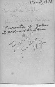 Back of photograph of Cornelia Taylor Dakin. Handwritten mark of Frank Forshew, Hudson NY