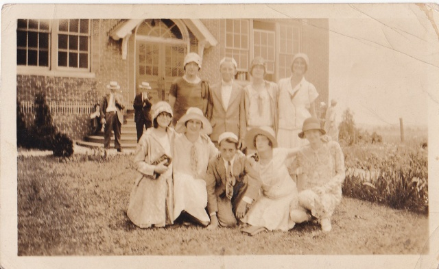 "Whitehouse, NJ - June 23, 1929 - ""Standing, L to R,  Tessie, Stanley, Julia, and Mary.  Some of the graduating classmates.  Sitting, L to R,  Francis, Marie, Eddie, Stephanie, Helen, other friends from church."""
