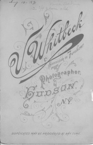 Back of photograph of NIna Dakin. 1891. V. Whitebeck Studio. Successort to Forshew.