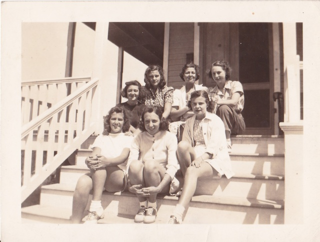 Beaver College friends. Middle row  left - Evelyn Stewart, Front row left - Terry Terhune.