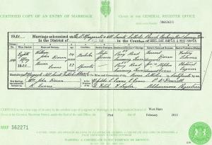 Marriage Record for William John Doran and Rosina Evans