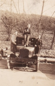 Three men on a car - 1944/45 - taken by James Doran