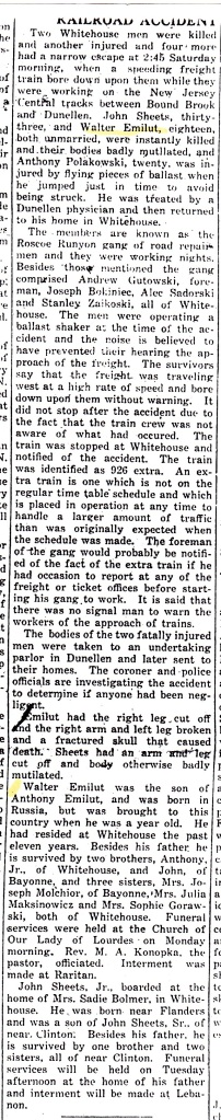 """Railroad Accident."" The Whitehouse Review, Whitehouse Station, New Jersey. Thursday, June 24, 1930."