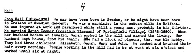 From the research of Sal Rafferty Mayer on the Hall family.
