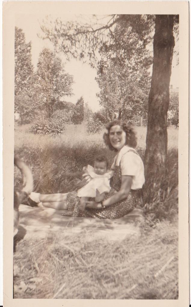 """""""June - 1944. Carol age - 8 months."""" Baby Carol is held by Mary Mirota."""