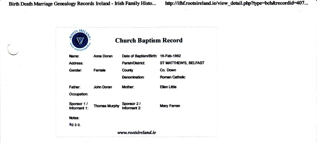 Record accessed 1/3/2012 at www.rootsireland.ie