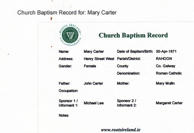 Record accessed November 9, 2011 at www.ifhf.rootsireland.ie