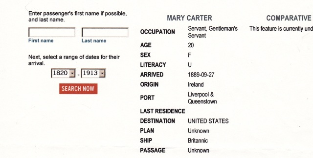 Record for Mary Carter. Source: http://www.castlegarden.org/
