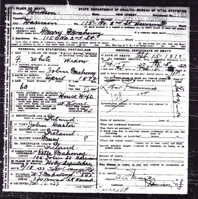 Death Record for Mary Mahoney 15 February 1933. source: Source: NJ State Department of Health - Bureau of Vital Statistics
