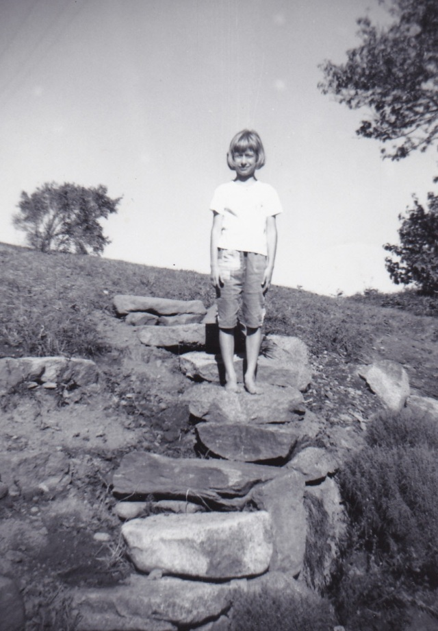 Maryann on Jimmy's stone steps. Photo taken 1964 - Copyright Genealogy Sisters