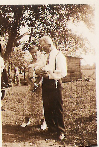 Baby Lubas with grandparents, Joseph and Zofia Mirota
