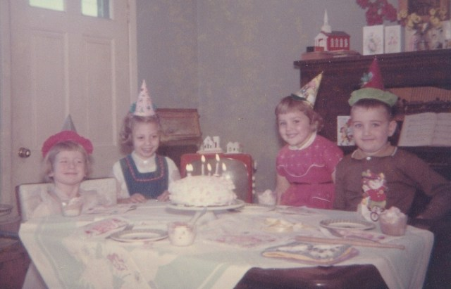 Celebrating my birthday with Diane, Janet, and David - December 1960 - Photograph copyright Genealogy Sisters 2015.