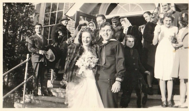 Wedding of Dorothy Daggett and George Radomski at Our Lady of Loudes - January 1945