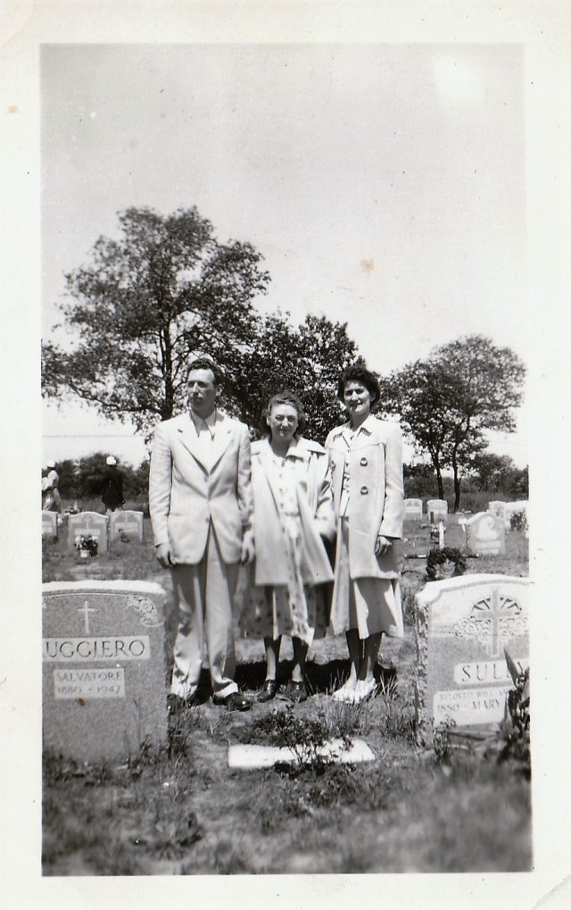 Mary Mahoney Doran with her son, James, and daughter-in-law, Mary, at Holy Cross Cemetery.