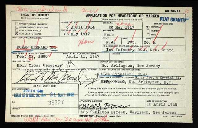 Application for Military Marker for Bernard Doran