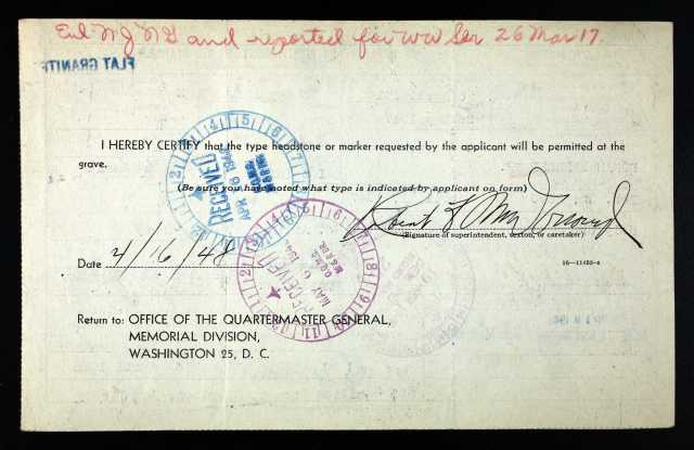 Appplication for Bernard Doran - reverse side of card.