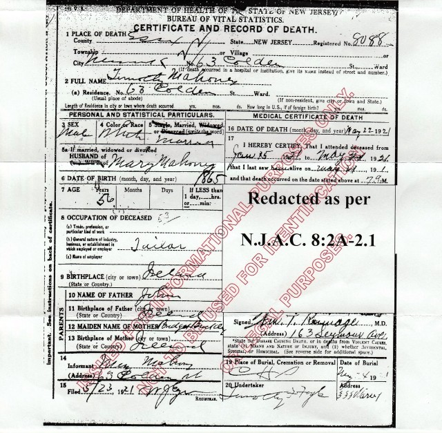 Timothy Mahoney's Death Certificate. Source:: New Jersey Department of Health, Office of Vital Statistics and Registry, Trenton, NJ.